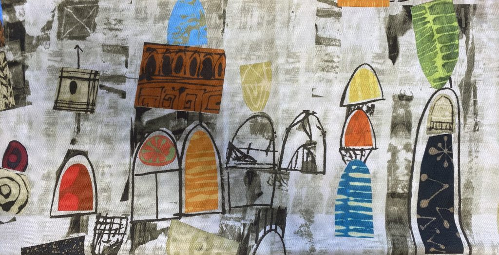"""Image of """"Art History 101"""" fabric to illustrate text about doors and arches"""